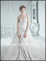 2013 Expensive Luxury Advanced Customize Empire Full Beading Crystal Royal Train Queen Style Wedding Dresses Wedding Gown