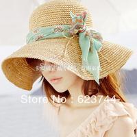 min order $15(can mixed) Choke a small pepper-end fine crochet raffia big brim sun hat beach hat summer women