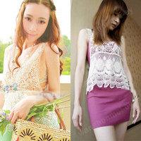 Women Fashion Sweet Cute Lace Hollow Crochet Knit Batwing Loose Blouse Shirt Top