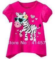 Cute Red Zebra T-shirt for kids 100% cotton girl T shirt free shipping    5 sets / lot