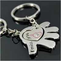 "K56 Heart Couple Key Chain Lovers Key Ring Chain ""Love You, Just Put You Held In The Palm"" 6PCS/3Pairs/Lot"