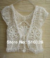 Fashion Summer Fringed Crop Shirt Top Cute Womens White Lace Blouse Crochet Bolero Jacket