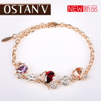 Bracelet female sweet fresh multicolour butterfly 18k gold diamond bracelet