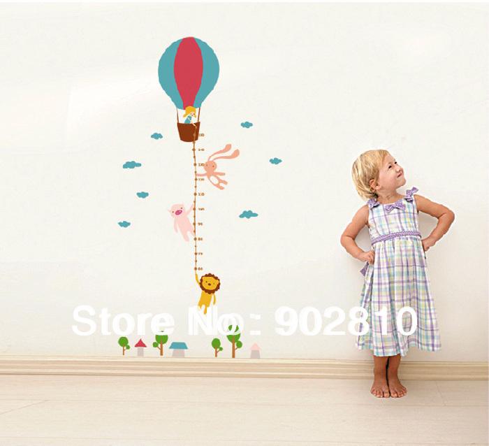 - transparente coelho animais leão e balão do vôo do crescimento etiqueta parede torre Chart medida para crianças(China (Mainland))