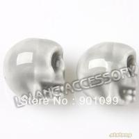 European Jewelry handcraft  beads 75pcs/lot New Gray Skull Head Ceramic beads DIY handmade findings 13x11x14mm 112645