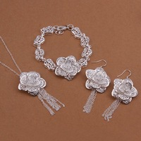 Newest 925 Sterling Silver Plated Women Jewelry Sets with Necklaces Earrings Bracelets Nickel Free Jewellery SS437