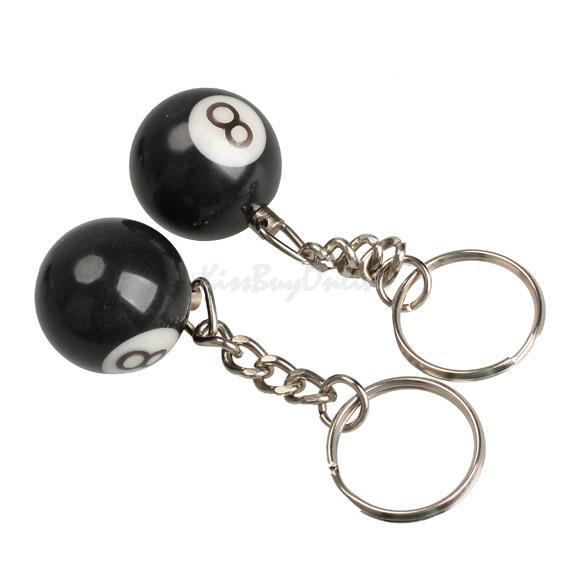 2pcs Billiard Pool Keychain Snooker Table Ball Key Ring Gift Lucky NO.8 K5BO(China (Mainland))