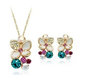 Italina Rigant Elegant Flower 18K Real Gold plated Jewelry Set With Shining Rhinestone