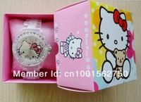 1pcs retail fashion Plastic Quartz Wristwatches,New Style Hello Kitty watch with gift box Kids Cartoon Watch