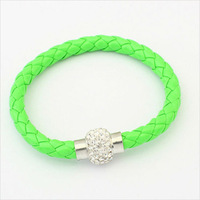 Free Shipping New 2013 Fluorescent Colored Woven Leather Brand Bracelet Vners Fashion Jewelery Face Women Chrismas Gifts BL0188