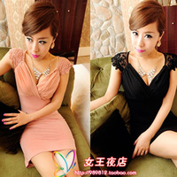 D3072 summer lace sleeve chest pleated V-neck slim hip sexy one-piece dress