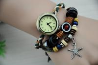 Women and men's fashion Antiqued Bronze Watch Triple Layers Hemp Leather Bracelet,free shipping