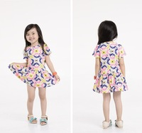 Free shipping Baby Girls Chiffon Ruffles Floral Dress Red Yellow White  Mini TUTU Dress O-Neck-1216