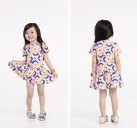 Free shipping Baby Girls Chiffon Ruffles Floral Dress Red Yellow White  Mini TUTU Dress O-Neck-1216
