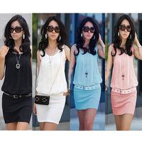 New !! 2014 Summer Women's Mini Dress Crew Neck Chiffon Sleeveless Causal Tunic Sundress Free Shipping W3134