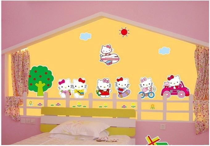Free Shipping Wholesale Cartoon Wall Stickers Hello Kitty