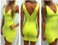 Lime Green Deep V Bandage Dress Sexy Evening Mini Dress Free Shipping