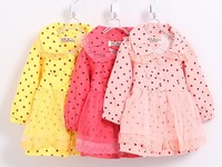 Vintage Autumn&Winter Baby Girls beautiful tulle lace coats Dot turndown collar jackets for the Kids free shipping