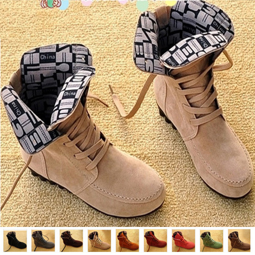 Lady's Winter Boots Women Martin Boots Ankle Round Flat Toe Lace-up Solid Suede Cow Muscle Motorcycle Boots 2013 Plus Size(China (Mainland))