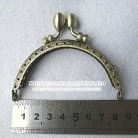 "Free shipping 20 pcs 8.5cm 3.3"" embossed bronze bud hasp bag frames purse handles DIY patchwork diy accessories"
