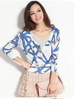 2013 New Long sleeve short belt print female cardigan sweater women v-neck casual knitted outerwear WS-029