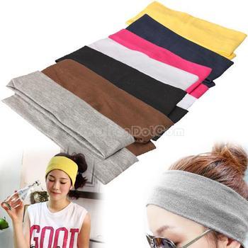 Sporty Yoga Dance Biker Wide Headband Hood Stretch Ribbon Hairband Elastic  NI5L