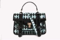 Fashion Flat Buckle TMC LIGHT BLUE & Black Diamonds Portable Shoulder Bag TY006-B