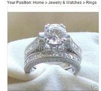100% new 14K   2.50 CT Estate Wedding Ring Set Platinum-ep