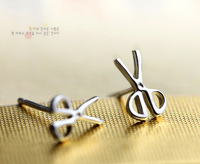 Promotion 2014 Hot Sale Fashion ,925 Sterling Silver Lovely Scissors Shape Couple Etud Earrings For Lovers Platinum Plated