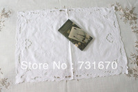 "Handmade simple and easy white exquisite 100% cotton timeproof oblong doily 14*45""OB T140OB"