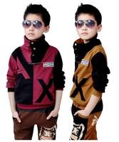 2014 Autumn Children Clothing Sets Teenage Boys Clothing Set Boy's Turtleneck Coat+Cotton Pants 2 PC Sport Set for 5-12 years