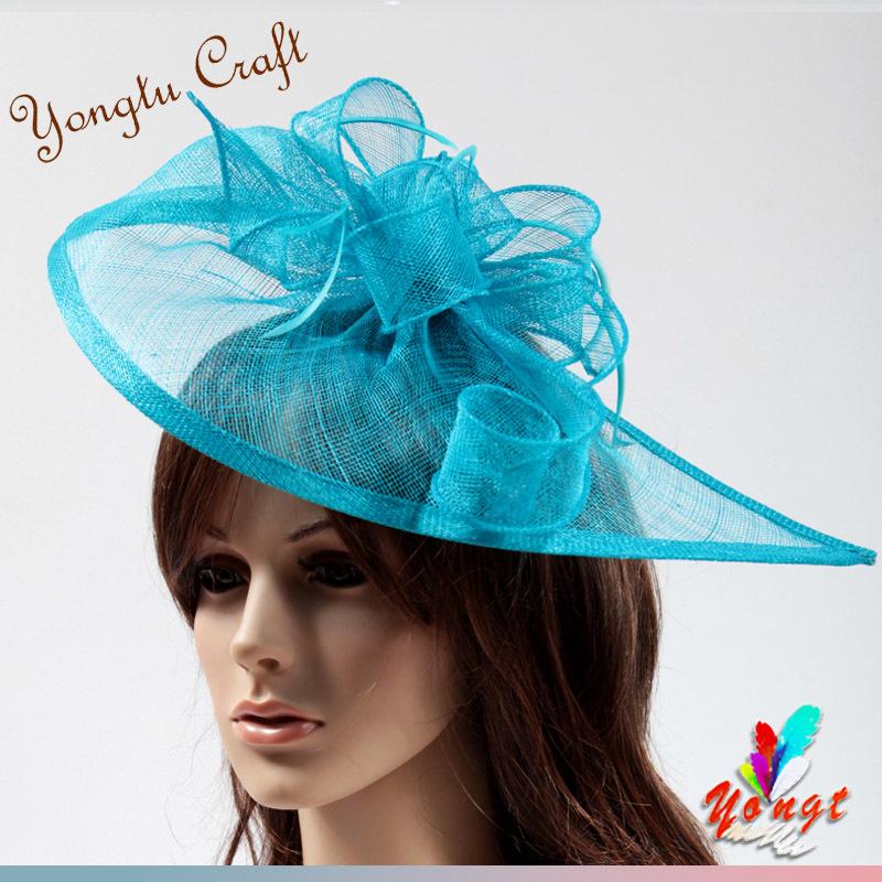 EMS 2015 sinamay flower fascinator hair accessory feather sinamay base bridal mini hat for wedding party 41(China (Mainland))
