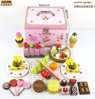 China Supplier Mother Garden Carry Boxes Children's Playhouse Strawberry Delicious Birthday Cake Afternoon Tea  Wooden Toy set