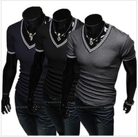 HOT! Free shipping sale Mens Designer Casual V Neck T-Shirts Tee Shirt Slim Fit Tops New short sleeve t-shirt sizeM-XXL