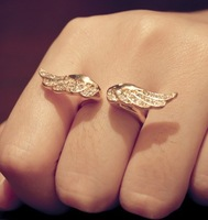 Wholesale Hot Unique Punk Gothic Angel Wings Crystal Rings for Women  Free Shipping 12pcs/lot