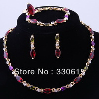 wholesale Free Shipping fashion New Arrival thinestone colourful  Women wedding Golden necklace 18k Gold African Jewelry Set