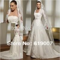 2015 Lace Bust and Long Sleeves Jacket Satin Bridal Wedding Dress Gown muslim wedding custmos