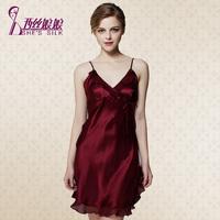 Women's mulberry silk sleepwear sexy spaghetti strap nightgown lounge