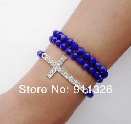 New Arrive Set of 3 WOMENS Rhinestone Cross Bracelets ARM Party Gift SL-07022(China (Mainland))