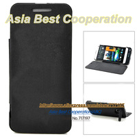Hot sell,Free shipping,High quality External 4800mAh Power Battery Charger PU Leather Case + Switch Stand for HTC One M7 - Black
