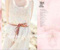 2014 European style women slim vintage ultra long dress long big size floor-length princess maxi dress with belt free shipping