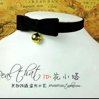 Rivet bell velvet strip necklace collapsibility  for Lolita princess dress jewelry