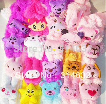 Free Shipping Candy color ultra soft coral fleece scarf,Girls KT scarf, baby cartoon animal head scarf,style random send 20/lot
