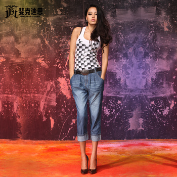 Fxdis denim capris jeans female thin 7 lowing pants female