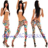 Женские носки и Колготки 2013 woman hot Fashion Trend Stylish Printed Capri Leggings seamless fit Jeggings pants #C7077