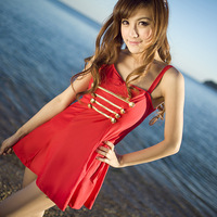Free shipping Fashion military 2013 spa one piece female swimwear black and red