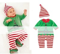 2014 new!children set(3pcs/1lot)100%cotton cartoon clothes Christmas Children's Christmas clothing girls christmas clothes679858