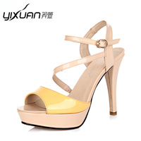 2013 women designer sandals color block decoration open toe shoe  leather high-heeled shoes platform shoes platform womens