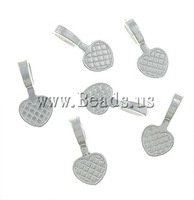 Free shipping!!!Zinc Alloy Glue on Bail,Wedding, Heart, silver color plated, nickel, lead & cadmium free, 10x20x1.30mm