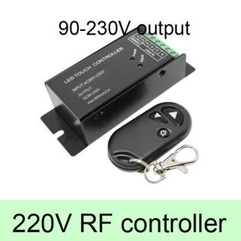 High Voltage AC90-230V 1 Channel 0.5A LED Dimmer Controller With RF Remote Brightness Remote for 110V, 220V, 230V Light,Black